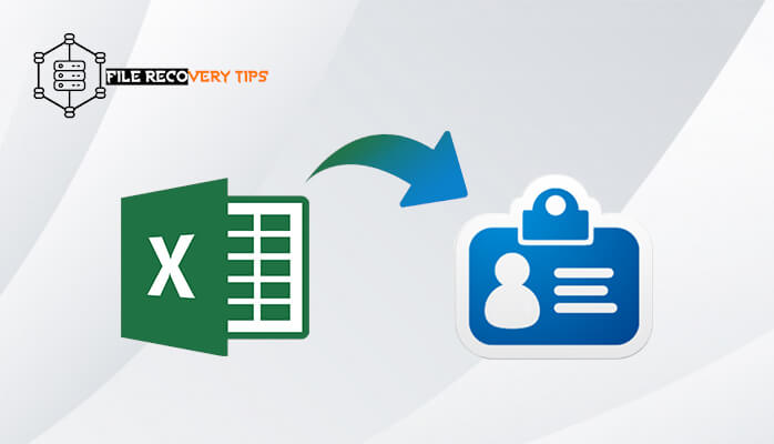 This image explains the conversion of Excel to Vcard format without software