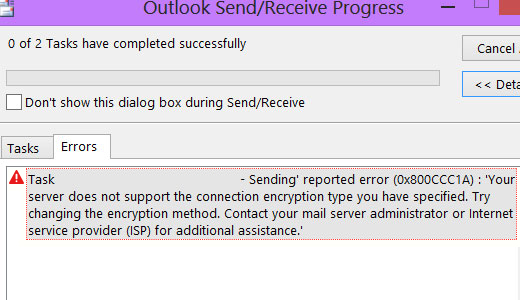 Top Tips] Fixing MS Outlook Error 0x800ccc1a in 2019